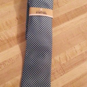 Stafford non-iron cotton tie teal plaid
